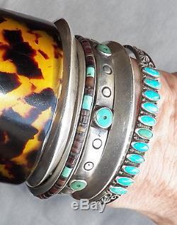 Vintage Harvey Era Maisels Albuquerque Sterling Turquoise Row Cuff Bracelet