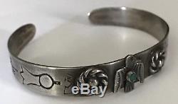 Vintage Harvey Era Navajo Indian Coin Silver Turquoise Thunderbird Cuff Bracelet