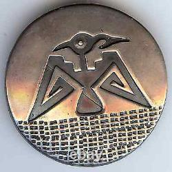 Vintage Hopi Indian Native American Round Silver Thunderbird Pin Brooch