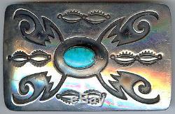 Vintage Hopi Indian Stamped Cut Out Designs Sterling Turquoise Belt Buckle