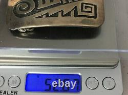 Vintage Hopi Native Allen Pooyouma Stampwork Sterling Silver Belt Buckle