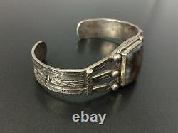 Vintage Hopi Ralph Tawangyaouma Petrified Wood Sterling Silver Bracelet Cuff