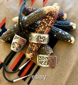 Vintage Hopi Victor Coochwytewa Sterling Silver Belt Buckle