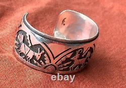 Vintage Hopi Victor Coochwytewa Sterling Silver Bracelet