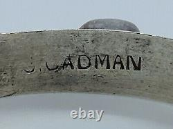 Vintage J. CADMAN Navajo Sterling Cuff with Turquoise & Red Coral Cabochons