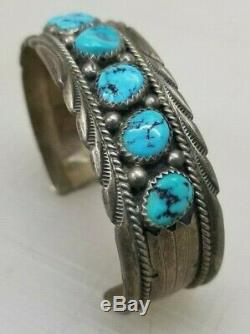 Vintage James Shay Navajo Sterling Silver Turquoise Cuff Bracelet JS