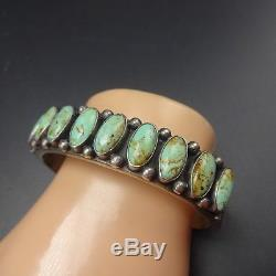 Vintage KIRK SMITH NAVAJO Stamped Sterling Silver & TURQUOISE Cuff BRACELET 71g