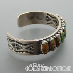Vintage Kirk Smith Navajo 925 Silver 9 Turquoise Rug Design Thick Cuff Bracelet