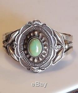 Vintage L. E. B. Navajo Sterling Silver Green Turquoise Cabochon Sandcast Cuff