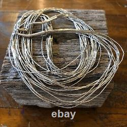 Vintage Long Multi Strand Sterling Silver Necklace Native American Jewelry