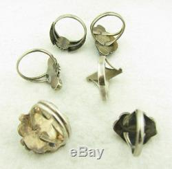 Vintage Lot of 6 Navajo Turquoise & Coral Sterling Silver Rings