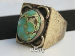 Vintage Marked 73 Sterling Silver Turquoise Cabochon Indian Ring Men's sz. 10.5