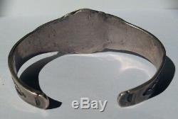 Vintage Men's 1930's Navajo Indian Silver Turquoise Cuff Bracelet