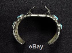 Vintage Men's Navajo Silver+Turquoise Watch Cuff Bracelet 89.5g