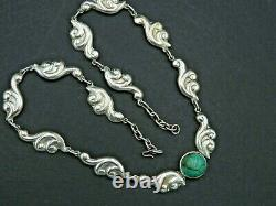 Vintage Mexico Necklace Turquoise Pendant Modernist Solid 925 Sterling Silver 18
