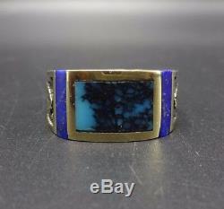 Vintage NAVAJO 14 Karat GOLD Blue Lapis & Webbed TURQUOISE Inlay RING size 10.25