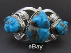 Vintage NAVAJO Cast Sterling Silver Three Frogs Turquoise Cuff Bracelet-91 Grams