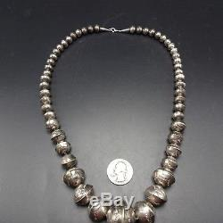 Vintage NAVAJO Hand Stamped & Graduated Sterling Silver NAVAJO PEARLS NECKLACE
