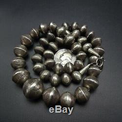 Vintage NAVAJO Hand Stamped Sterling Silver NAVAJO PEARLS 22 Strand NECKLACE