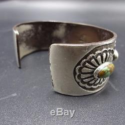 Vintage NAVAJO Heavy Gauge Sterling Silver & TURQUOISE Concho Belt Cuff BRACELET