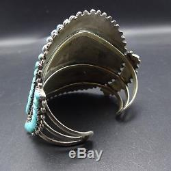 Vintage NAVAJO Phillip Byjoe Sterling Silver TURQUOISE Cluster Cuff BRACELET 78g