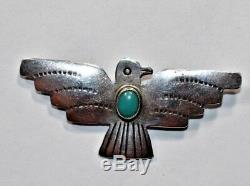 Vintage NAVAJO Signed Sterling Silver TURQUOISE GEMSTONE THUNDERBIRD Pin Brooch