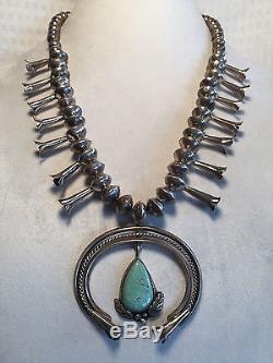 Vintage NAVAJO Single Strand SterlingSilver Saucer Beads SQUASH BLOSSOM Necklace