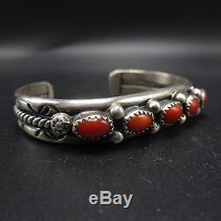 Vintage NAVAJO Stamped Sterling Silver & CORAL Single Row Cuff BRACELET 27.8g