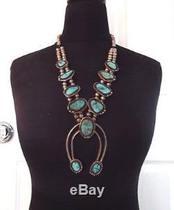 Vintage NAVAJO Sterling Silver & ARIZONA BLUE Turquoise SQUASH BLOSSOM Necklace