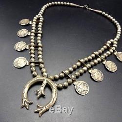 Vintage NAVAJO Sterling Silver MERCURY DIMES Coin SQUASH BLOSSOM Necklace