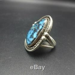 Vintage NAVAJO Sterling Silver NATURAL BLUE MORENCI TURQUOISE RING size 8