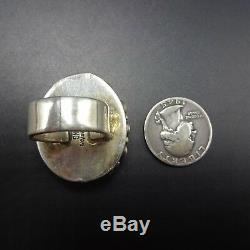 Vintage NAVAJO Sterling Silver OLD RED MEDITERRANEAN CORAL Cluster RING size 6.5
