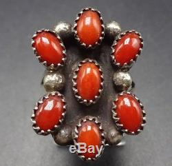 Vintage NAVAJO Sterling Silver & Red Mediterranean CORAL Cluster RING, size 7.5