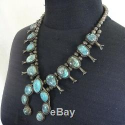 Vintage NAVAJO Sterling Silver SMOKY BISBEE Turquoise SQUASH BLOSSOM Necklace