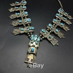 Vintage NAVAJO Sterling Silver TURQUOISE KACHINA Squash Blossom NECKLACE 188.6g