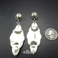 Vintage NAVAJO Sterling Silver & TURQUOISE Repurposed EARRINGS Harvey Era