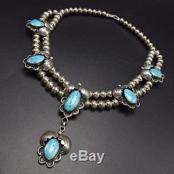 Vintage NAVAJO Sterling Silver & TURQUOISE Squash Blossom Style NECKLACE