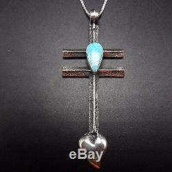 Vintage NAVAJO TUFA Cast Sterling Silver & #8 Turquoise DRAGONFLY CROSS PENDANT