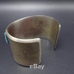 Vintage NAVAJO TUFA Cast Sterling Silver & COBBLESTONE Inlay Cuff BRACELET 101g