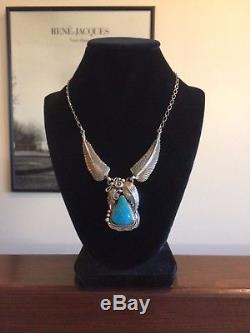 Vintage Native Am Sterling Silver Leaves Turquoise Necklace Emer Thompson 925