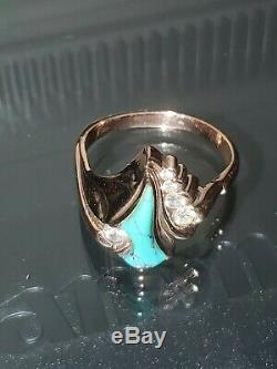 Vintage Native American 14k Gold With Natural Diamonds & Turquoise Ring sz 9