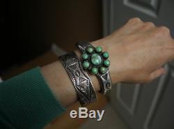 Vintage Native American Harvey Era Navajo Sterling Silver Cuff Bracelet