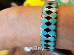 Vintage Native American Inlay Sterling Silver Cuff Bracelet, Ring, Earrings