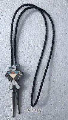 Vintage Native American Jewelry Multicolored Stone Bolo Tie Bennett Pat Pend Rar