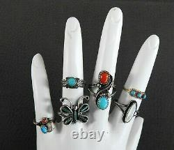 Vintage Native American Jewelry Turquoise Ring Lot Childrens Kids 4 Size 5