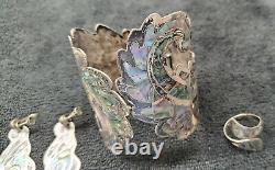 Vintage Native American Jewelry Zuni Inlay Silver Cuff Bracelets Earrings Pearl
