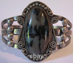 Vintage Native American Navajo Indian Silver Scenic Petrified Wood Cuff Bracelet
