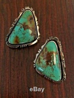 Vintage Native American Navajo Sterling Silver Turquoise Earrings P. A. Smith 925