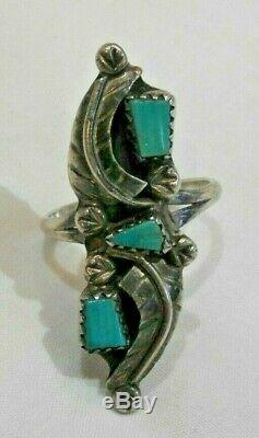 Vintage Native American Navajo Sterling Silver & Turquoise Ring Size 7.5