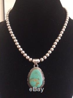 Vintage Native American Navajo Turquoise Pendant & Sterling Silver Bead Necklace